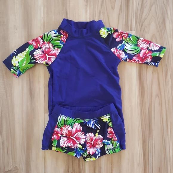 1caf4e0fc Swim | Floral 23t Spf Suit Hawaiian Set Rashguard | Poshmark